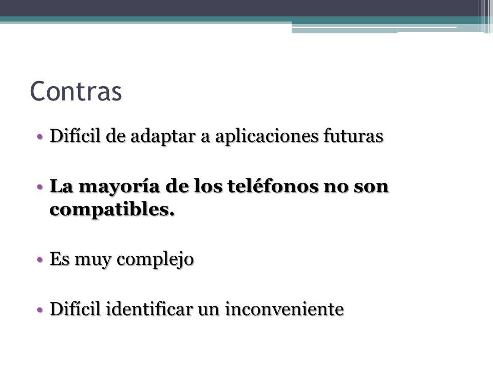 Contras Difícil de adaptar a aplicaciones futurasDifícil de adaptar a aplicaciones futuras La mayoría de los teléfonos no son compatibles.La mayoría d