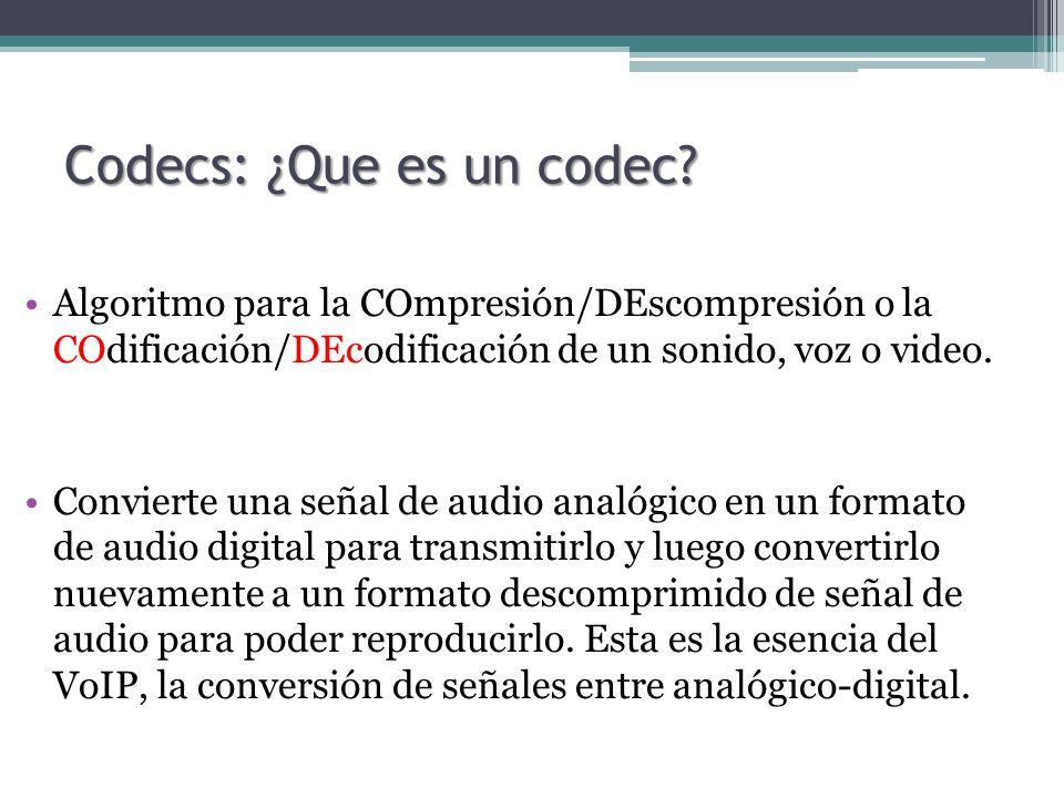 Codecs: ¿Que es un codec? Algoritmo para la COmpresión/DEscompresión o la COdificación/DEcodificación de un sonido, voz o video. Convierte una señal d