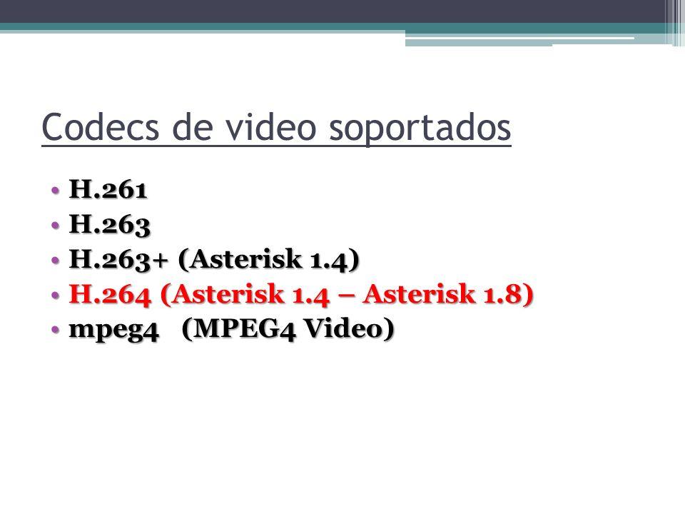 Codecs de video soportados H.261H.261 H.263H.263 H.263+ (Asterisk 1.4)H.263+ (Asterisk 1.4) H.264 (Asterisk 1.4 – Asterisk 1.8)H.264 (Asterisk 1.4 – A