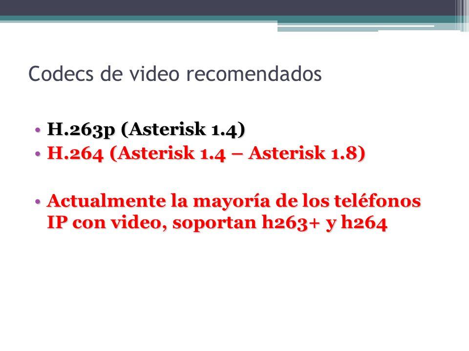 Codecs de video recomendados H.263p (Asterisk 1.4)H.263p (Asterisk 1.4) H.264 (Asterisk 1.4 – Asterisk 1.8)H.264 (Asterisk 1.4 – Asterisk 1.8) Actualm