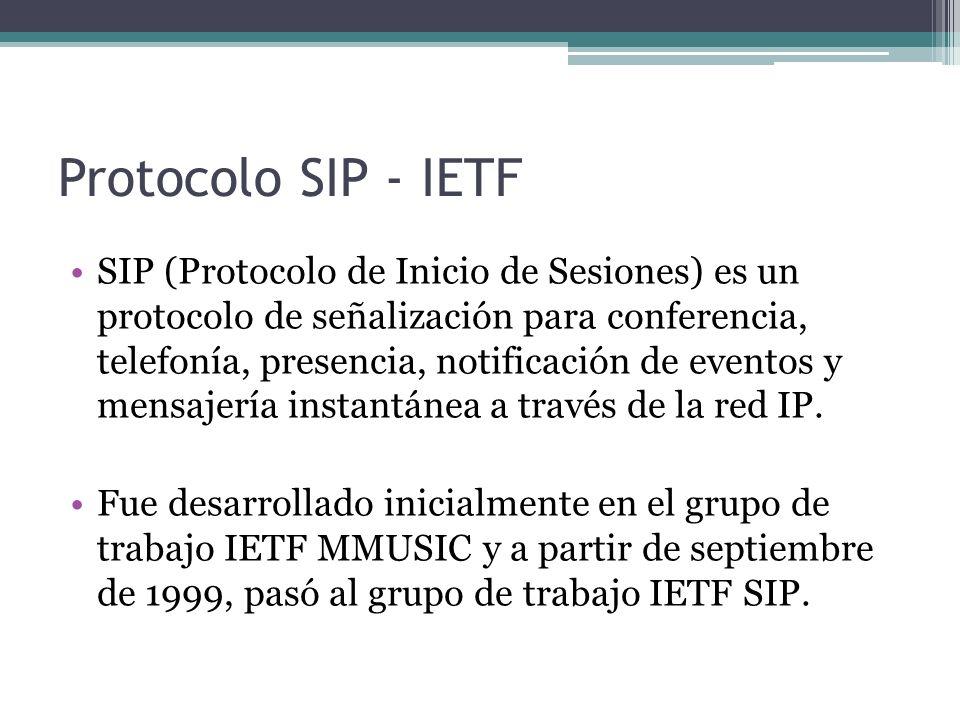 Protocolo SIP - IETF SIP (Protocolo de Inicio de Sesiones) es un protocolo de señalización para conferencia, telefonía, presencia, notificación de eve