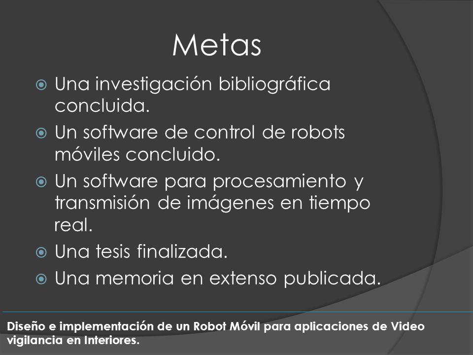 Metas Una investigación bibliográfica concluida. Un software de control de robots móviles concluido. Un software para procesamiento y transmisión de i