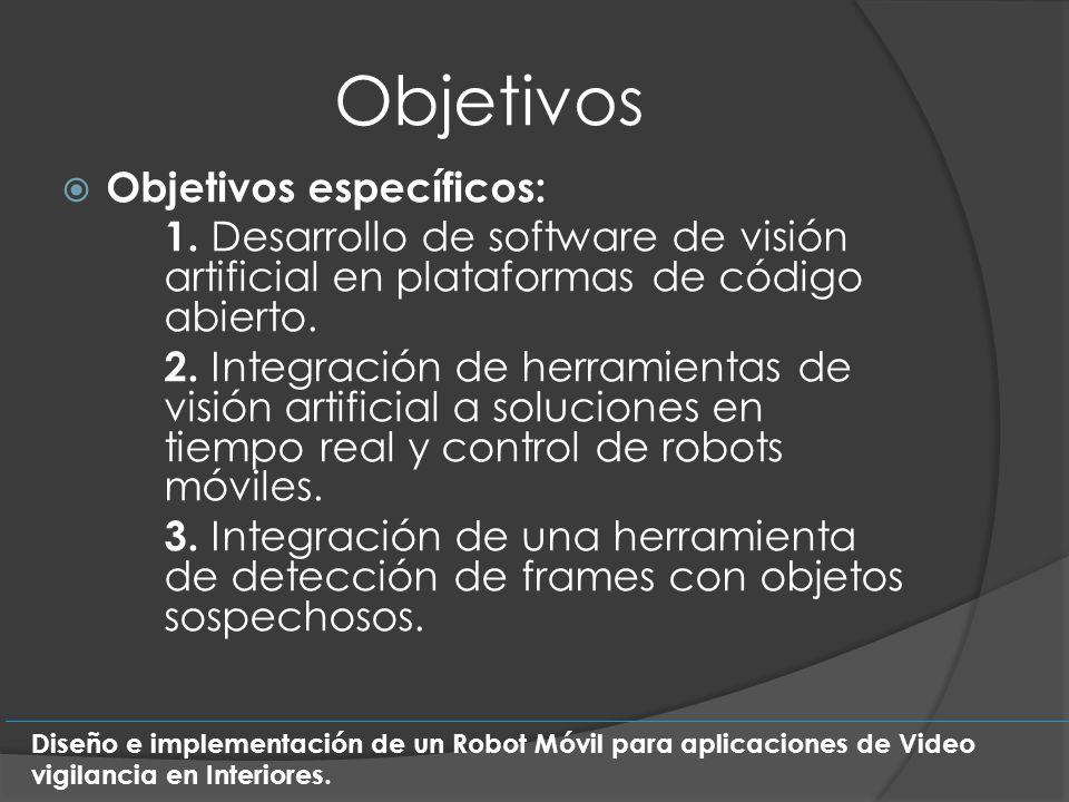 Objetivos Objetivos específicos: 1. Desarrollo de software de visión artificial en plataformas de código abierto. 2. Integración de herramientas de vi