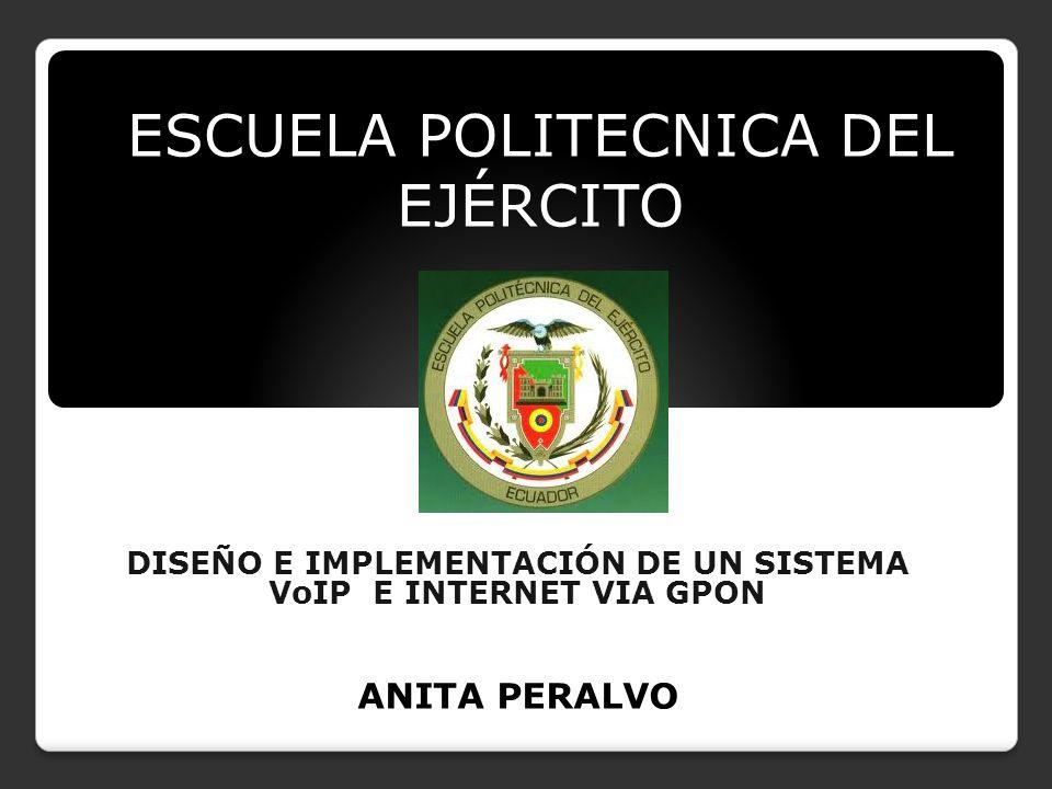 ESCUELA POLITECNICA DEL EJÉRCITO DISEÑO E IMPLEMENTACIÓN DE UN SISTEMA VoIP E INTERNET VIA GPON ANITA PERALVO