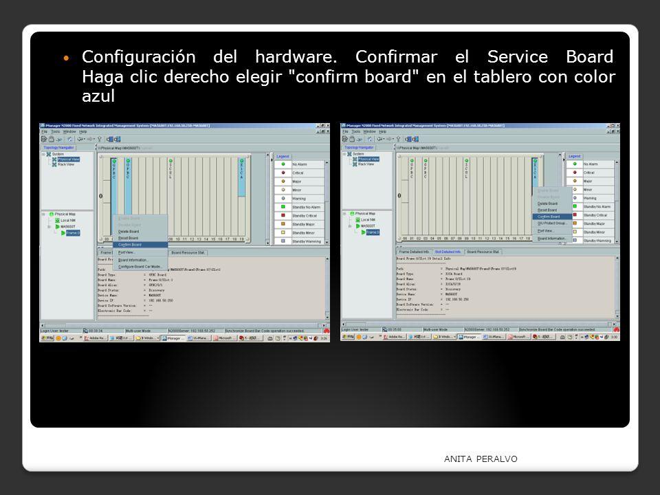 Configuración del hardware. Confirmar el Service Board Haga clic derecho elegir