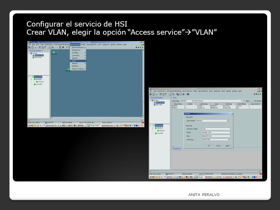 ANITA PERALVO Configurar el servicio de HSI Crear VLAN, elegir la opción Access service VLAN