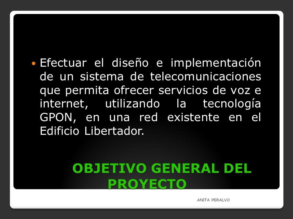 OBJETIVO GENERAL DEL PROYECTO Efectuar el diseño e implementación de un sistema de telecomunicaciones que permita ofrecer servicios de voz e internet,
