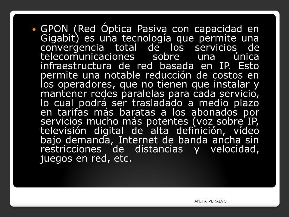 GPON (Red Óptica Pasiva con capacidad en Gigabit) es una tecnología que permite una convergencia total de los servicios de telecomunicaciones sobre un