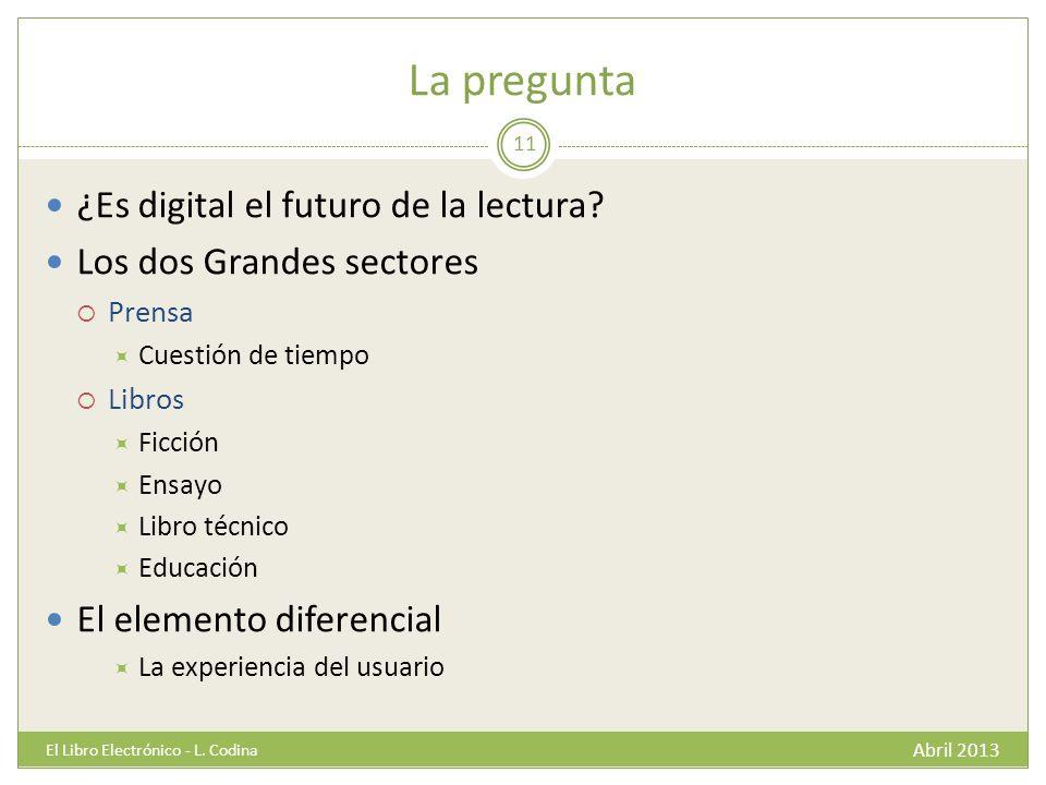 La pregunta Abril 2013 El Libro Electrónico - L. Codina 11 ¿Es digital el futuro de la lectura.