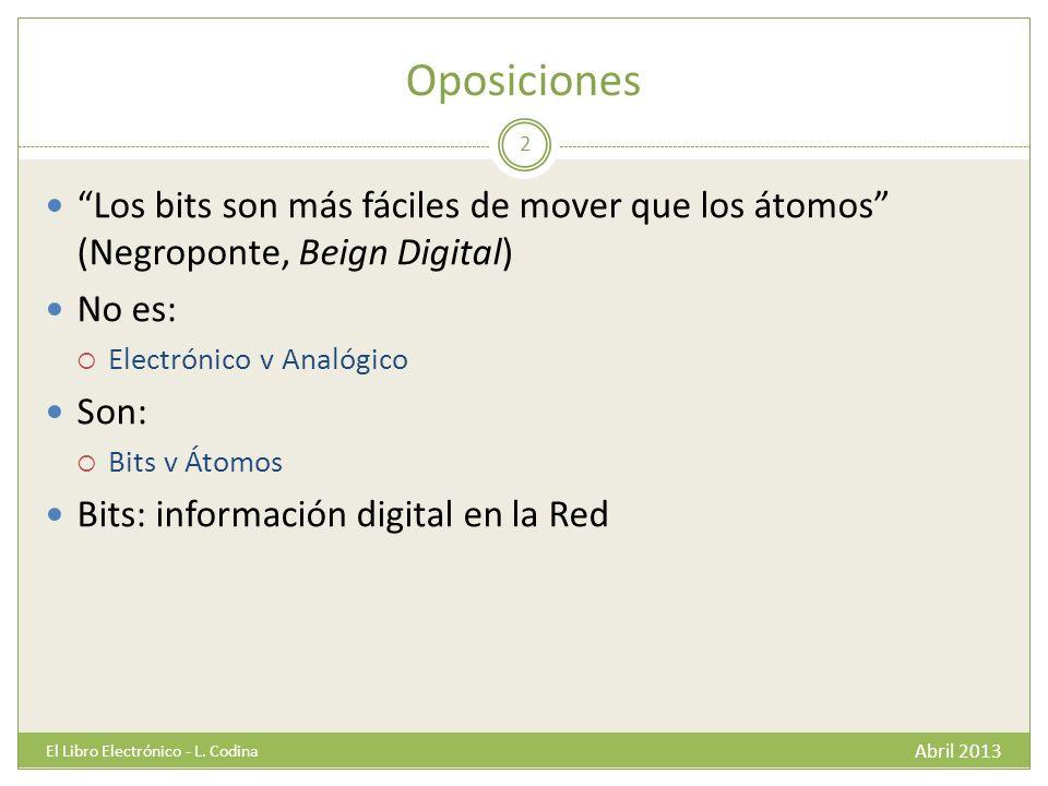 Oposiciones Abril 2013 El Libro Electrónico - L.