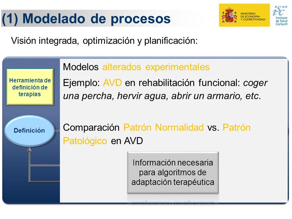 (1) Modelado de procesos Definición Monitorización Ejecución Evaluación Adaptación Herramienta de definición de terapias Conocimiento y evidencia Cono