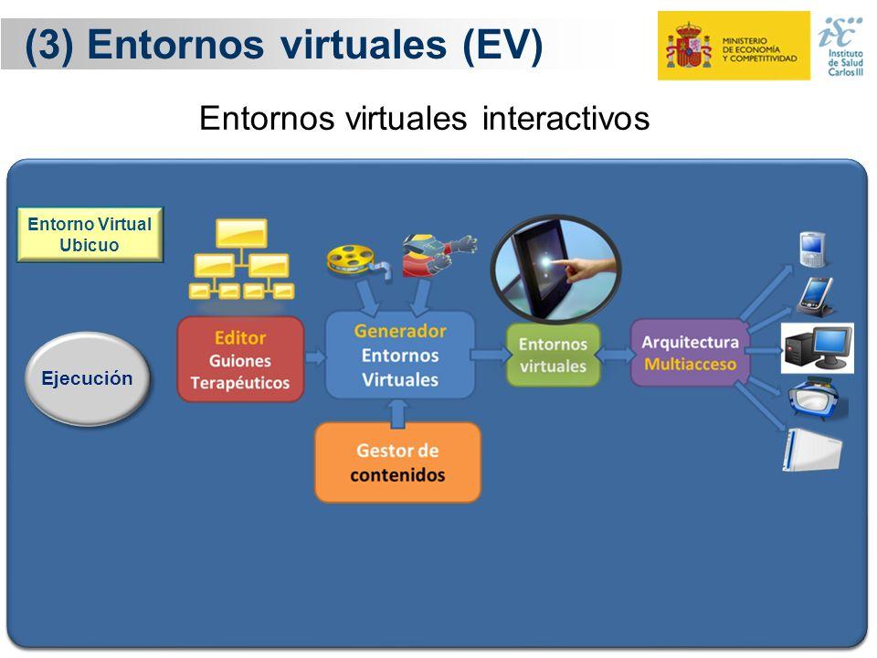 19 (3) Entornos virtuales (EV) Ejecución Entorno Virtual Ubicuo El terapeuta diseña el guión del procedimiento de rehabilitación La herramienta codifi