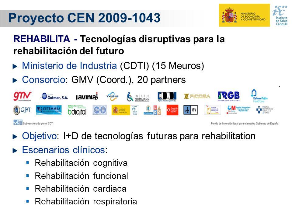 Proyecto CEN 2009-1043 Ministerio de Industria (CDTI) (15 Meuros) Consorcio: GMV (Coord.), 20 partners Objetivo: I+D de tecnologías futuras para rehab