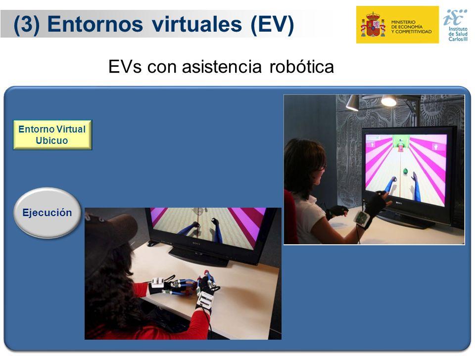 21 (3) Entornos virtuales (EV) Ejecución Entorno Virtual Ubicuo El terapeuta diseña el guión del procedimiento de rehabilitación La herramienta codifi