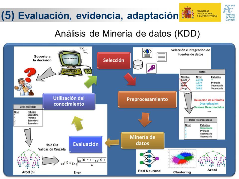 26 (5) Evaluación, evidencia, adaptación Evaluación Adaptación Sistemas Inteligentes de Análisis de Datos Conocimiento y evidencia Conocimiento y evid