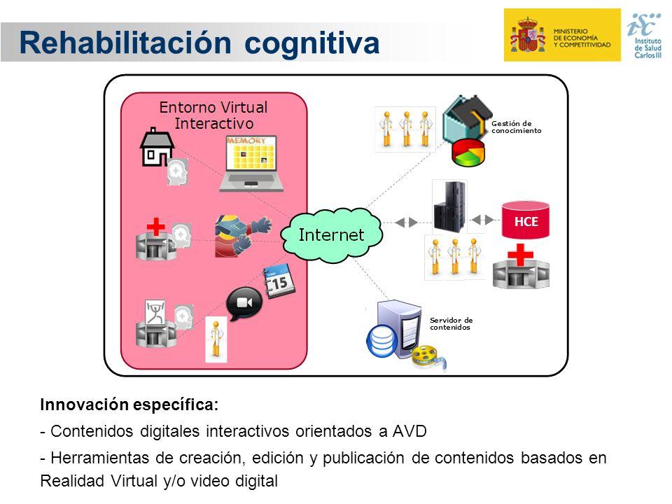 Rehabilitación cognitiva Innovación específica: - Contenidos digitales interactivos orientados a AVD - Herramientas de creación, edición y publicación