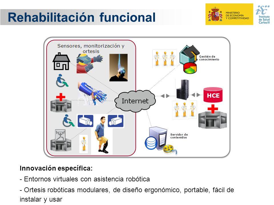 Rehabilitación funcional Innovación específica: - Entornos virtuales con asistencia robótica - Ortesis robóticas modulares, de diseño ergonómico, port