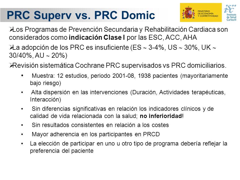PRC Superv vs. PRC Domic Los Programas de Prevención Secundaria y Rehabilitación Cardiaca son considerados como indicación Clase I por las ESC, ACC, A