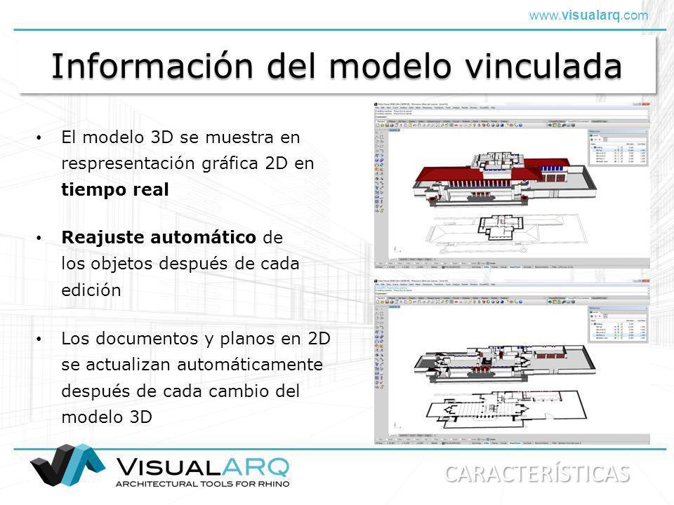 www.visualarq.com Información del modelo vinculada Los documentos y planos en 2D se actualizan automáticamente después de cada cambio del modelo 3D El