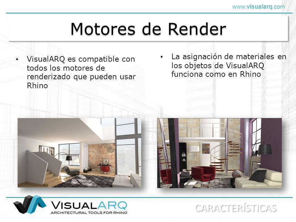 www.visualarq.com Motores de Render VisualARQ es compatible con todos los motores de renderizado que pueden usar Rhino La asignación de materiales en