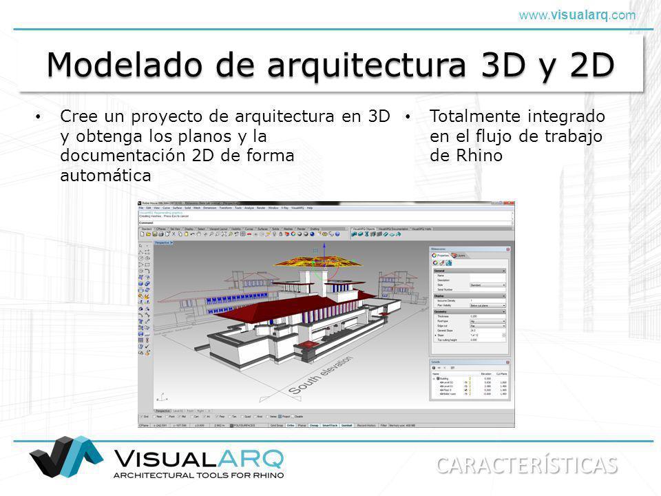 www.visualarq.com Modelado de arquitectura 3D y 2D Cree un proyecto de arquitectura en 3D y obtenga los planos y la documentación 2D de forma automáti