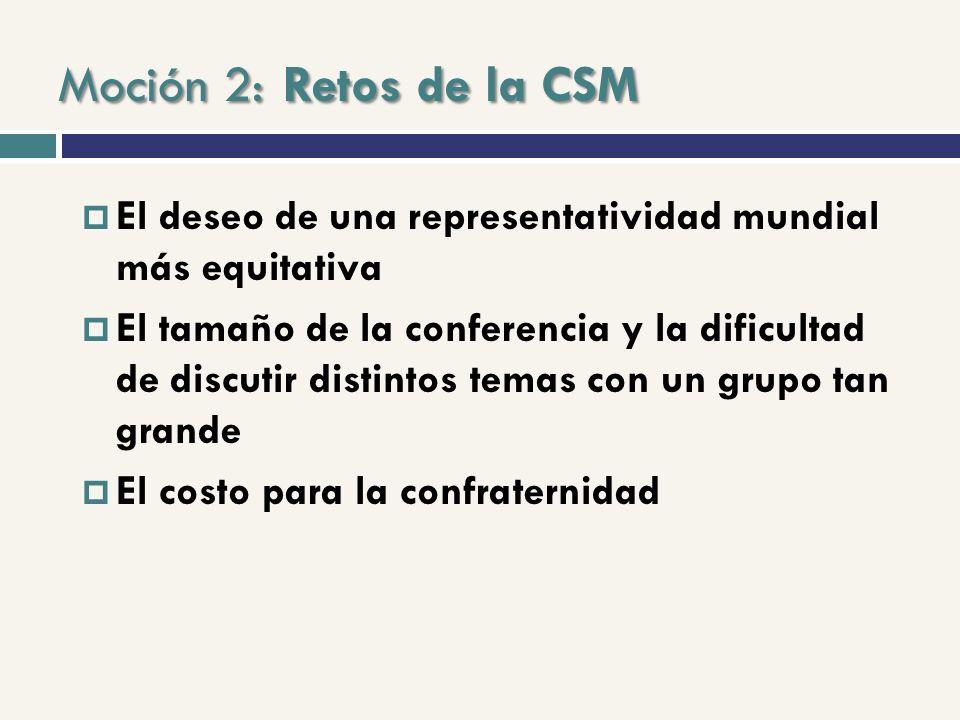 Moción 2: Retos de la CSM El deseo de una representatividad mundial más equitativa El tamaño de la conferencia y la dificultad de discutir distintos temas con un grupo tan grande El costo para la confraternidad