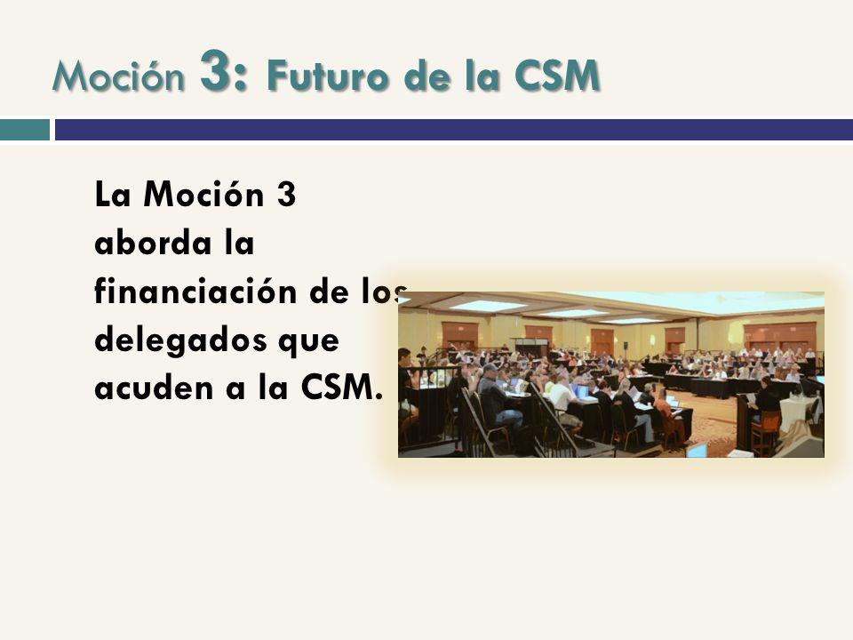Moción 3: Futuro de la CSM La Moción 3 aborda la financiación de los delegados que acuden a la CSM.