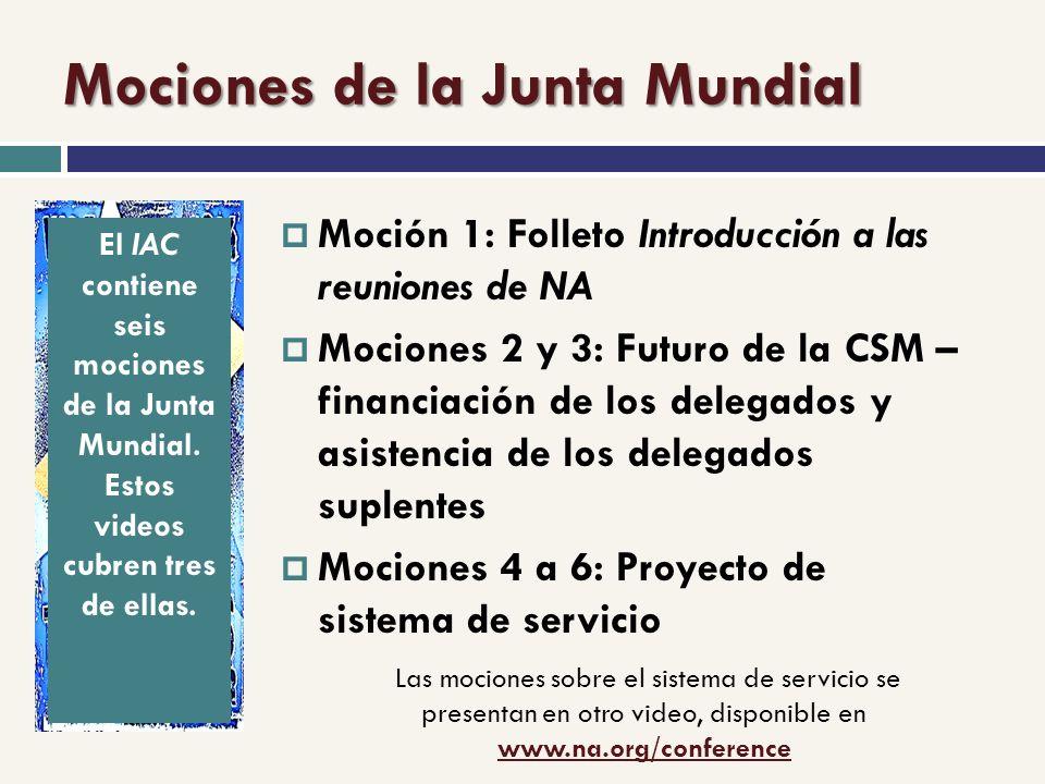 Mociones de la Junta Mundial Moción 1: Folleto Introducción a las reuniones de NA Mociones 2 y 3: Futuro de la CSM – financiación de los delegados y asistencia de los delegados suplentes Mociones 4 a 6: Proyecto de sistema de servicio Las mociones sobre el sistema de servicio se presentan en otro video, disponible en www.na.org/conference www.na.org/conference El IAC contiene seis mociones de la Junta Mundial.