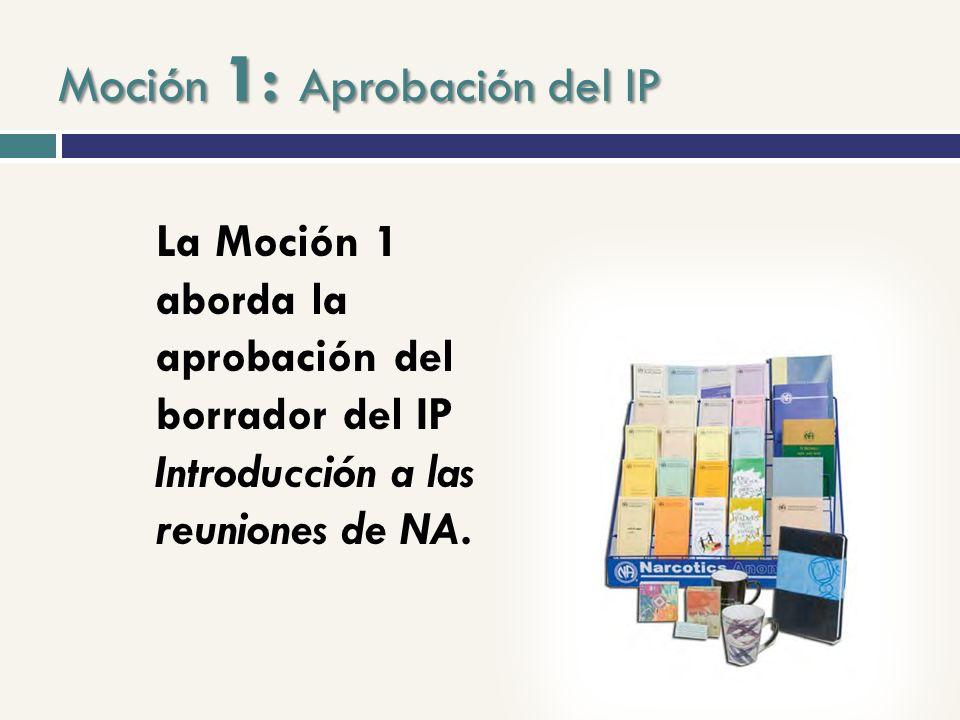 Moción 1: Introducción a las reuniones de NA Disponible como folleto de servicio desde 2008 Publicado en seis idiomas Creado originariamente para que los profesionales se lo entregaran a los adictos Resulta más adecuado como IP