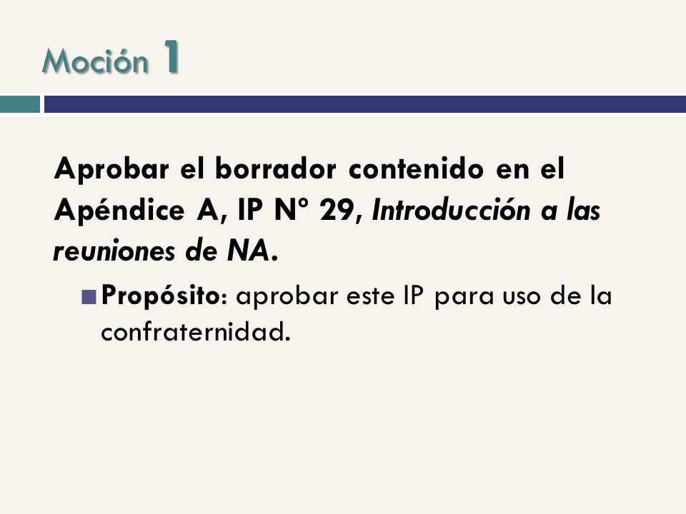 Aprobar el borrador contenido en el Apéndice A, IP Nº 29, Introducción a las reuniones de NA. Propósito: aprobar este IP para uso de la confraternidad