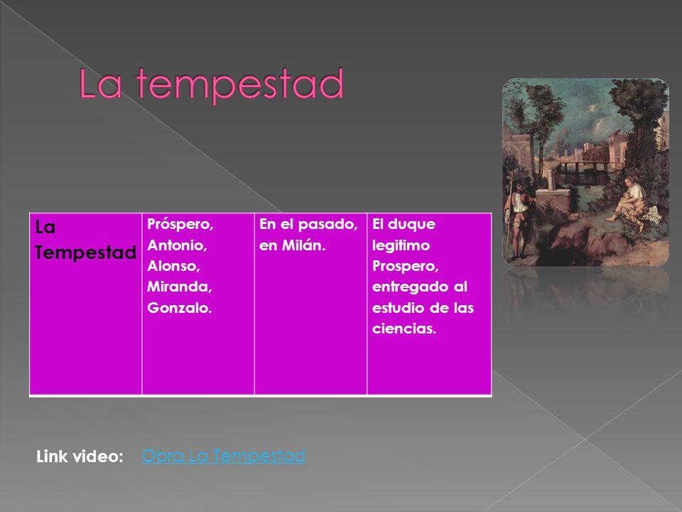 La Tempestad Próspero, Antonio, Alonso, Miranda, Gonzalo. En el pasado, en Milán. El duque legitimo Prospero, entregado al estudio de las ciencias. Ob