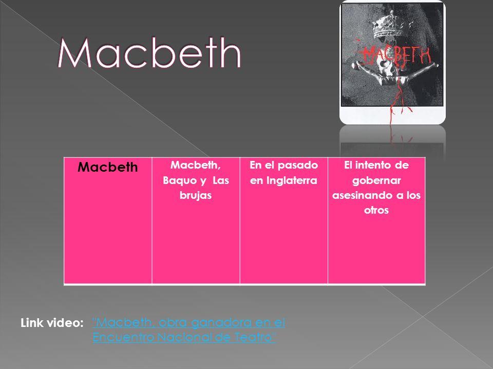 Macbeth Macbeth, Baquo y Las brujas En el pasado en Inglaterra El intento de gobernar asesinando a los otros