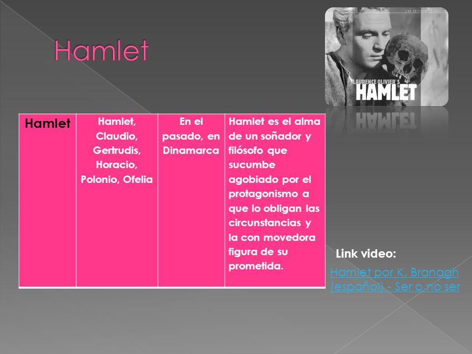 Hamlet Hamlet, Claudio, Gertrudis, Horacio, Polonio, Ofelia En el pasado, en Dinamarca Hamlet es el alma de un soñador y filósofo que sucumbe agobiado