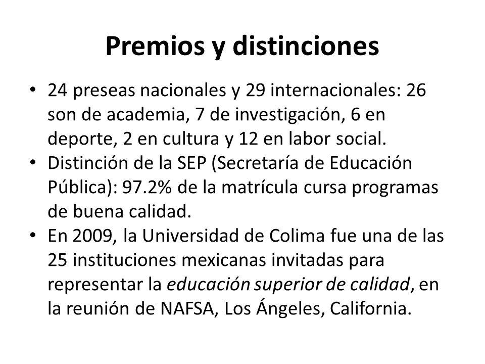 Premios y distinciones 24 preseas nacionales y 29 internacionales: 26 son de academia, 7 de investigación, 6 en deporte, 2 en cultura y 12 en labor social.