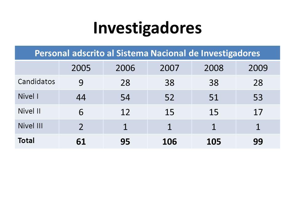 Investigadores Personal adscrito al Sistema Nacional de Investigadores 20052006200720082009 Candidatos 92838 28 Nivel I 4454525153 Nivel II 61215 17 Nivel III 21111 Total 619510610599