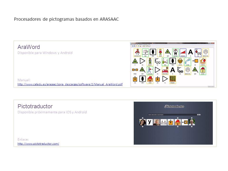 Procesadores de pictogramas basados en ARASAAC AraWord Disponible para Windows y Android Manual: http://www.catedu.es/arasaac/zona_descargas/software/