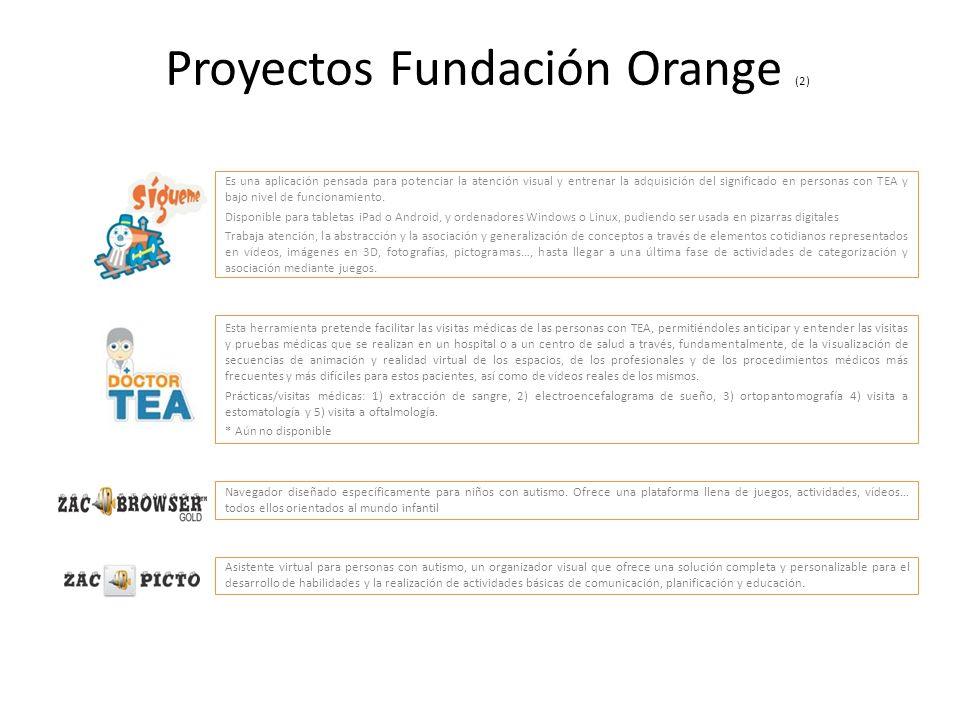 Proyectos Fundación Orange (2) Es una aplicación pensada para potenciar la atención visual y entrenar la adquisición del significado en personas con T