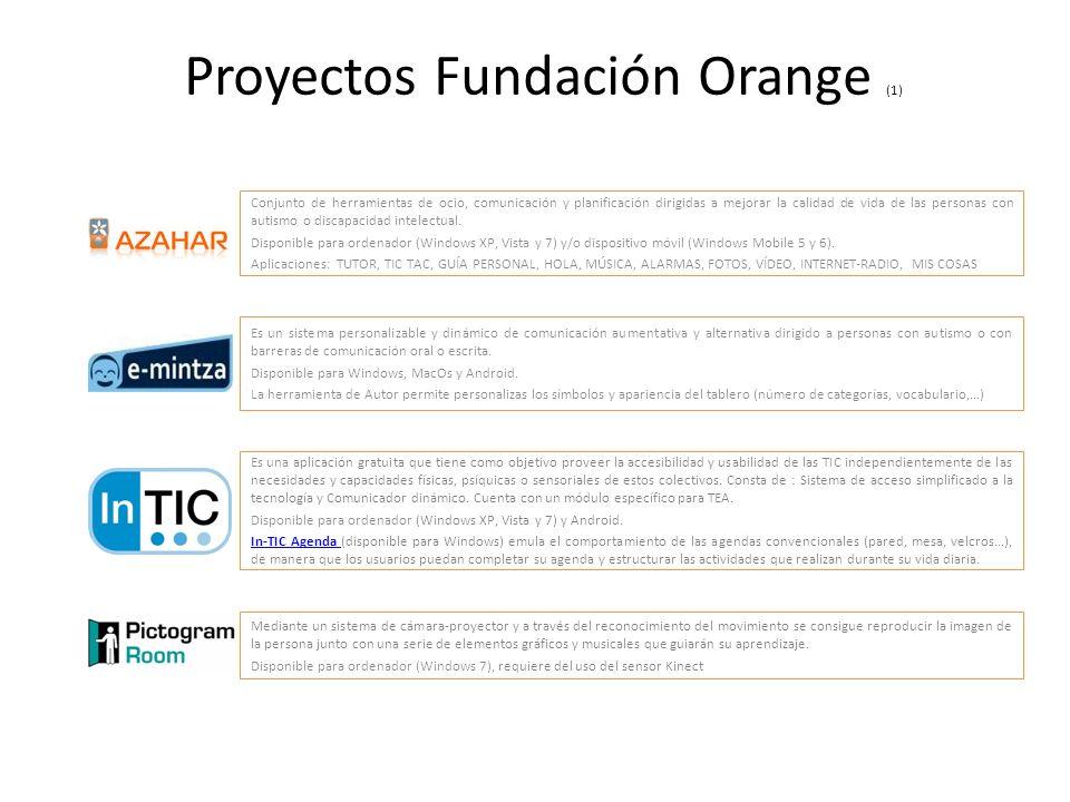 Proyectos Fundación Orange (1) Conjunto de herramientas de ocio, comunicación y planificación dirigidas a mejorar la calidad de vida de las personas c