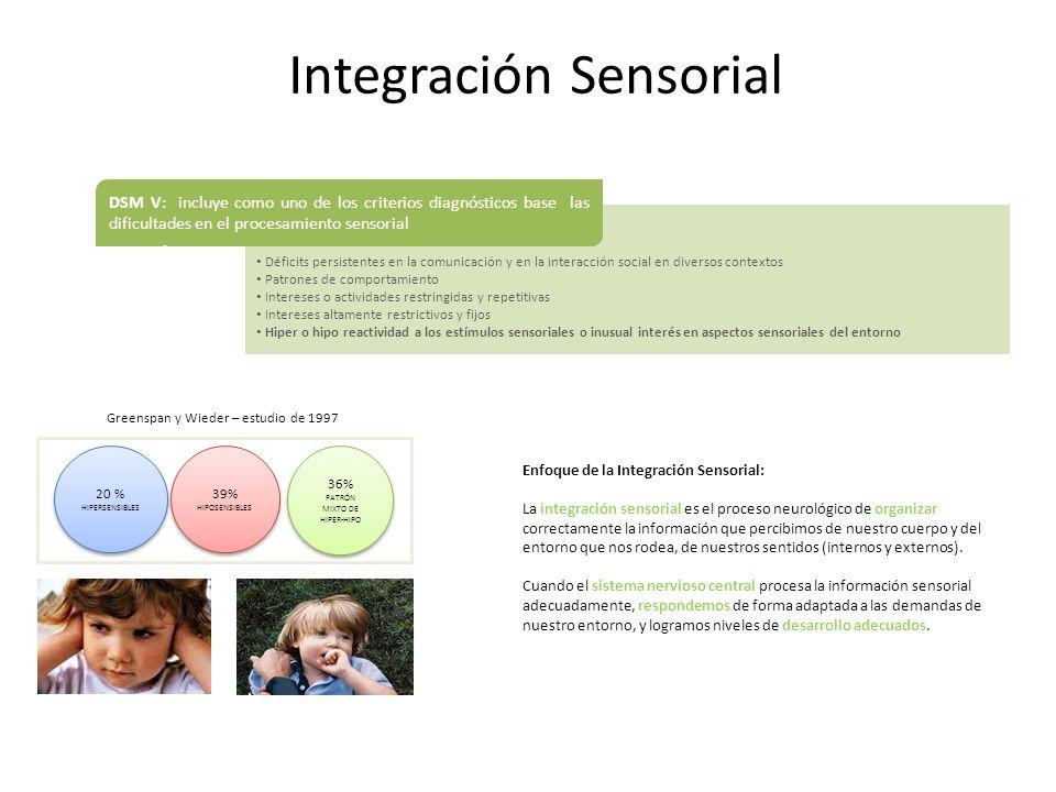 Integración Sensorial Déficits persistentes en la comunicación y en la interacción social en diversos contextos Patrones de comportamiento Intereses o
