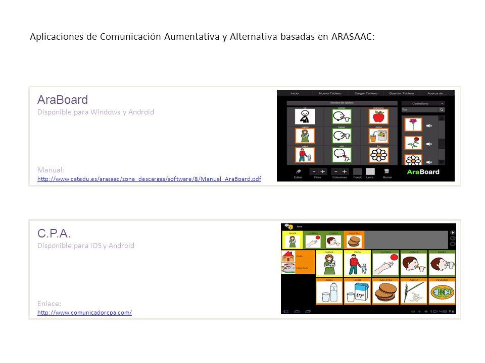 Aplicaciones de Comunicación Aumentativa y Alternativa basadas en ARASAAC: AraBoard Disponible para Windows y Android Manual: http://www.catedu.es/ara