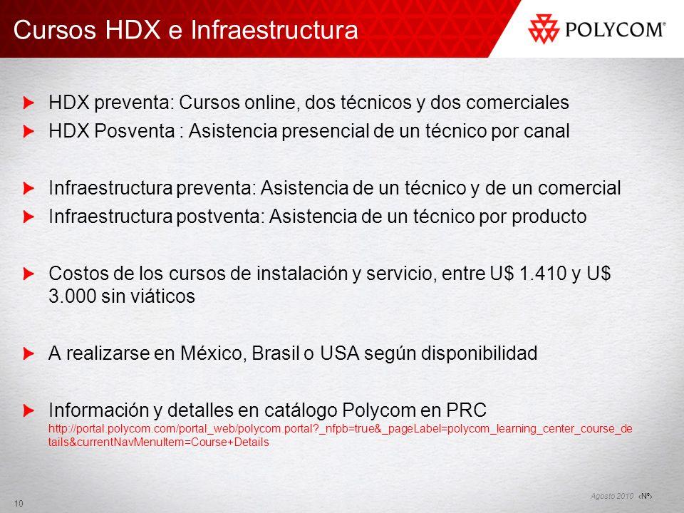 Nº Agosto 2010 10 HDX preventa: Cursos online, dos técnicos y dos comerciales HDX Posventa : Asistencia presencial de un técnico por canal Infraestruc