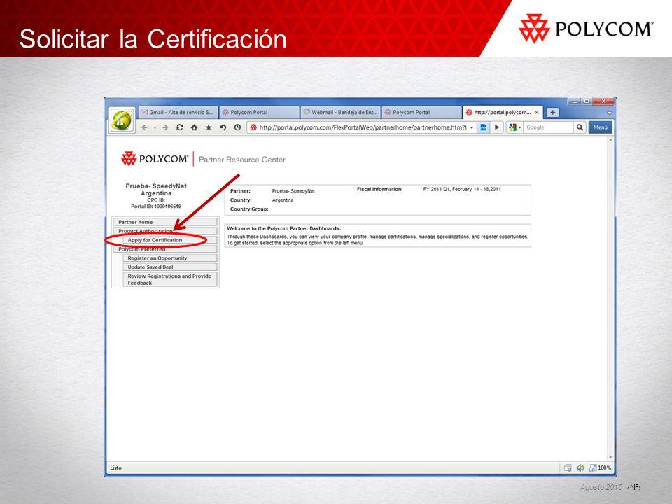 Nº Agosto 2010 Solicitar la Certificación
