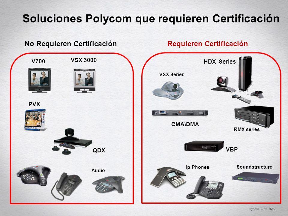 Nº Agosto 2010 Soluciones Polycom que requieren Certificación VSX Series HDX Series VSX 3000 PVX V700 No Requieren Certificación Requieren Certificaci