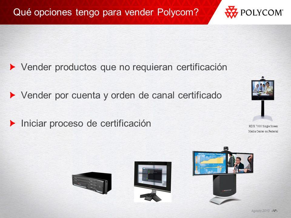 Nº Agosto 2010 Qué opciones tengo para vender Polycom? Vender productos que no requieran certificación Vender por cuenta y orden de canal certificado