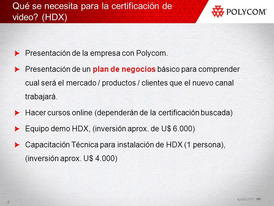 Nº Agosto 2010 Qué se necesita para la certificación de video? (HDX) Presentación de la empresa con Polycom. Presentación de un plan de negocios básic