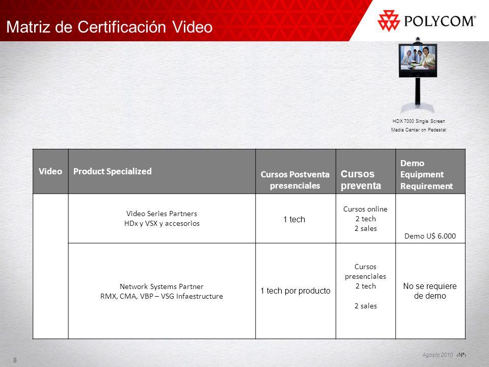 Nº Agosto 2010 Matriz de Certificación Video 8 VideoProduct Specialized Cursos Postventa presenciales Cursos preventa Demo Equipment Requirement Video