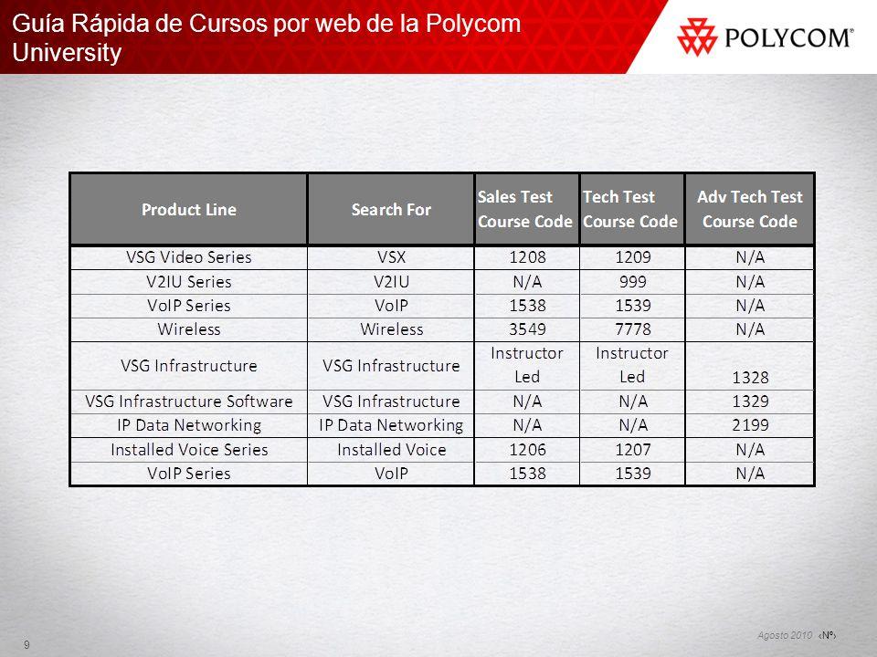 Nº Agosto 2010 Guía Rápida de Cursos por web de la Polycom University 9