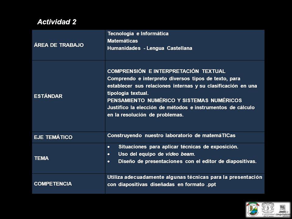 Actividad 2 ÁREA DE TRABAJO Tecnología e Informática Matemáticas Humanidades - Lengua Castellana ESTÁNDAR COMPRENSIÓN E INTERPRETACIÓN TEXTUAL Compren