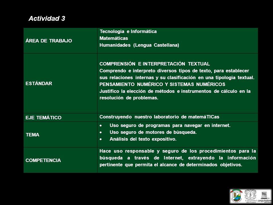 Actividad 3 ÁREA DE TRABAJO Tecnología e Informática Matemáticas Humanidades (Lengua Castellana) ESTÁNDAR COMPRENSIÓN E INTERPRETACIÓN TEXTUAL Compren