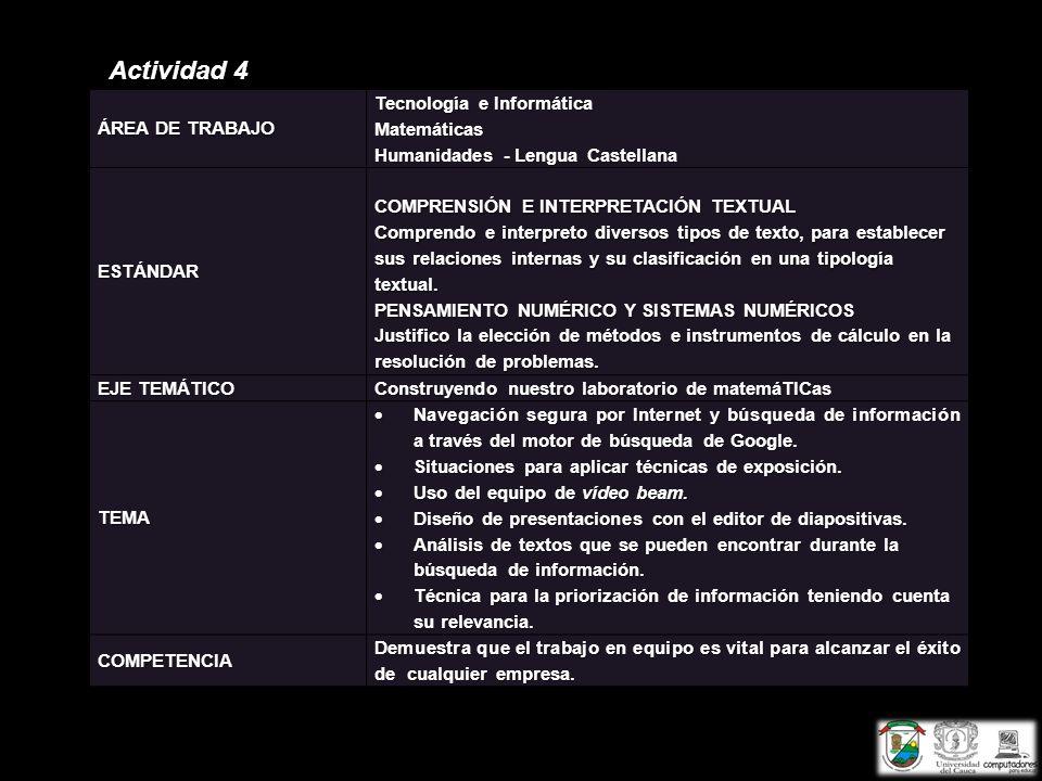 Actividad 4 ÁREA DE TRABAJO Tecnología e Informática Matemáticas Humanidades - Lengua Castellana ESTÁNDAR COMPRENSIÓN E INTERPRETACIÓN TEXTUAL Compren